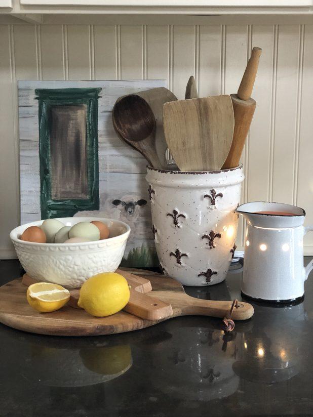 Farm Fresh Eggs, Kirkland Lamb Print, Vintage Wooden Spoons