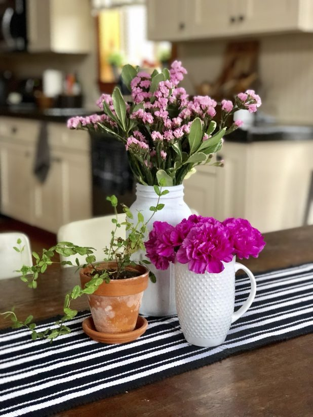 Pink Flowers and a Mint Plant