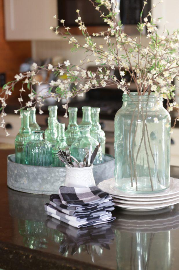 Green Sea Glass, Galvanized Container, Black and White Buffalo Check, Distressed Dinner Plates, Black Concrete Countertop