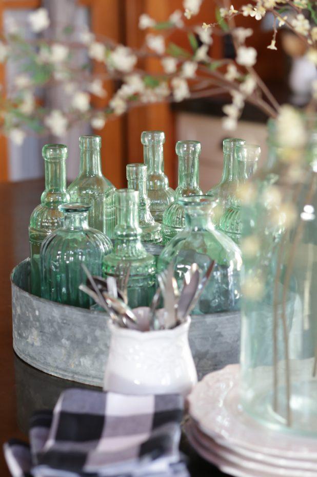 Green Sea Glass in a Galvanized Container