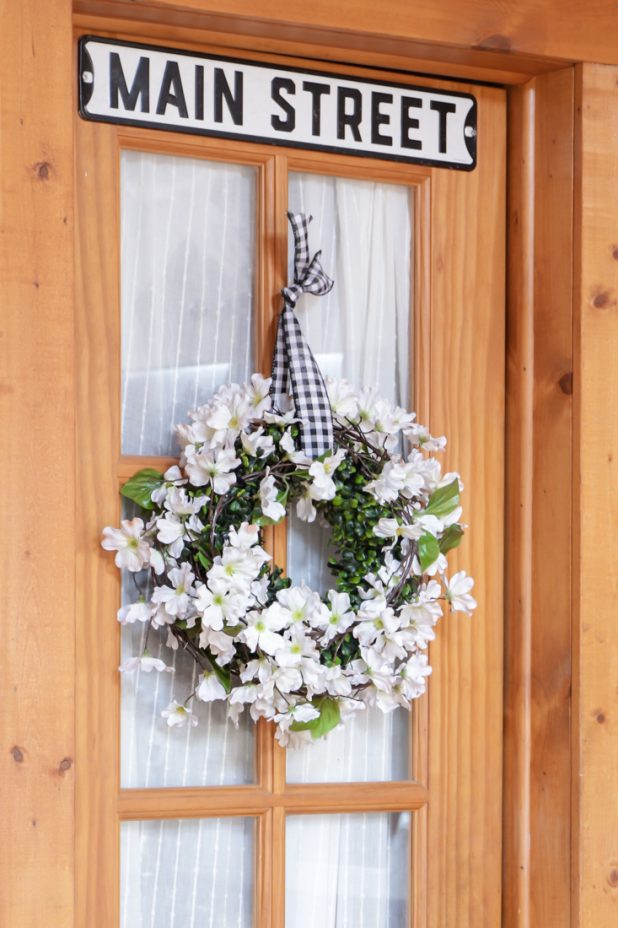 DIY Apple Blossom Wreath with Black and White Gingham Ribbon. No Tools, no Glue Gun Required Project. Can be Assembled in Under 10 Minutes. Farmhouse Look.