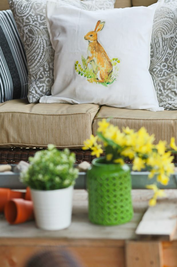Spring Porch of a Log Home. Neutral Decor. Pottery Barn Bunny Pillow Knock Off Tutorial. Forsythia Blooms.