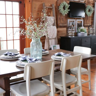 Spring Farmhouse Table Using Green, Black & White
