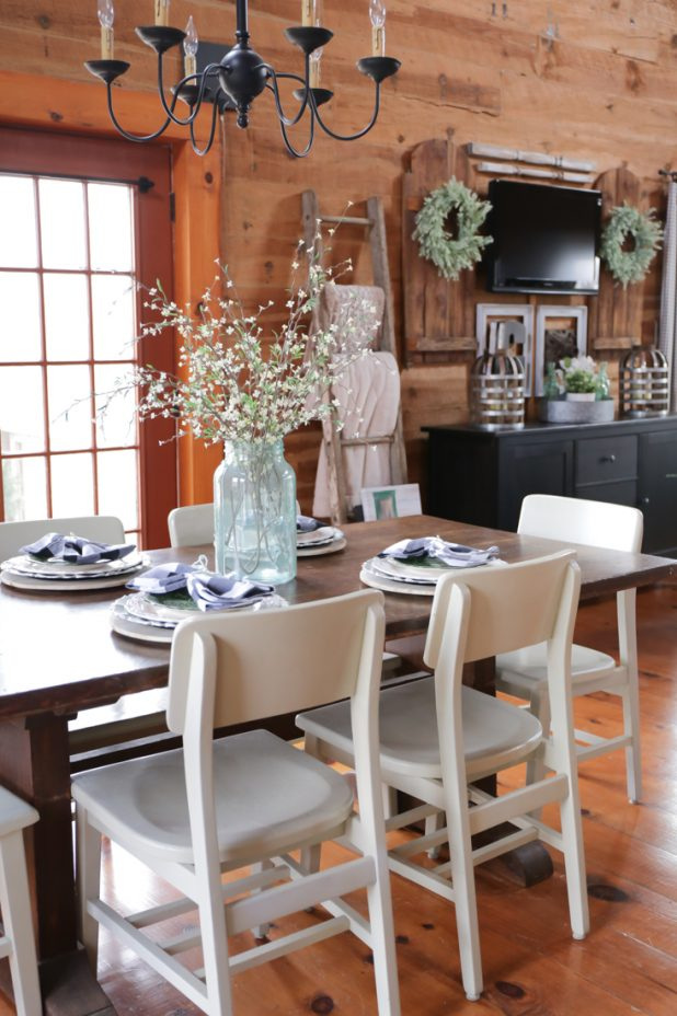 Spring Decor Pieces Using Black, White, and Pops of Green. Farmhouse Style. Log Home Living.