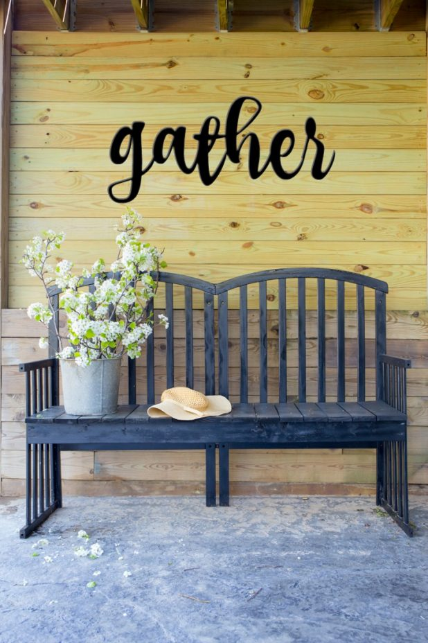 Decorating with flowering pear branches, a galvanized sap bucket, and a DIY garden bench from an old baby crib, and a Gather sign, Farmhouse Style decor