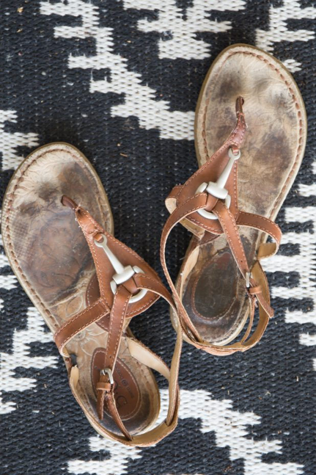 Easy DIY Method for Cleaning The Footbed of Suede Sandals Before Photo