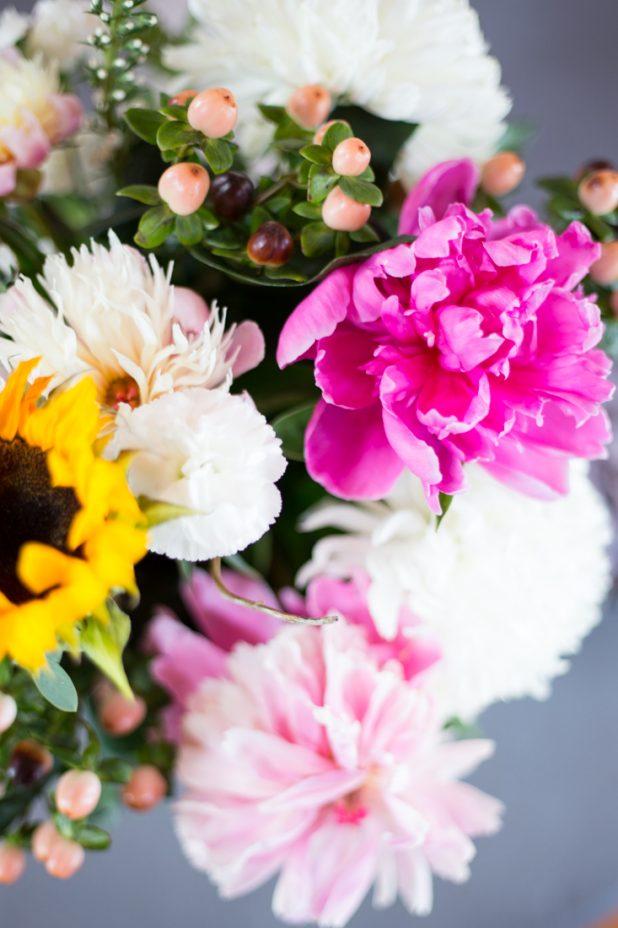 Garden Cut Flower Arrangement, Peonies, sunflowers, Carnations and Greenery