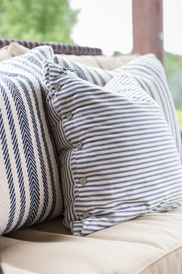 Rustic Farmhouse Ticking Pillows in Navy and Cream