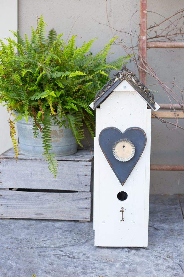 Junk Farmhouse Birdhouse Art. Don't throw away your scraps, recycle them into birdhouses for your landscaping.