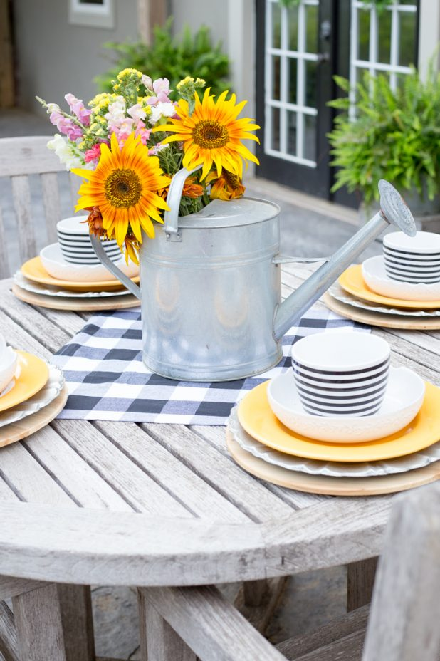 It's Time To Cut Those Lovely Sunflowers From Your Garden and Create a Stunning Outdoor Table on the Patio