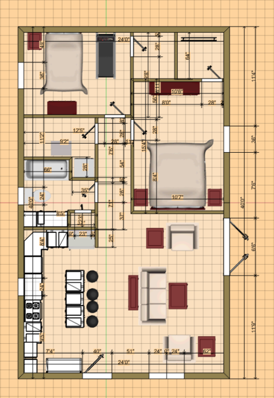 Pole Barn Conversion To a House. Plans and Layout Design 24X40 Pole Barn Home