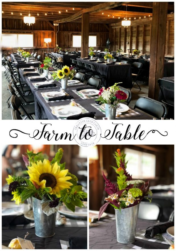 Farm To Table, Rustic Decor, Barn Party, Rustic Wedding Decor, Rustic Wedding Event, Sunflowers, Galvanized Buckets, Black and White, Fairy Lights, Barn