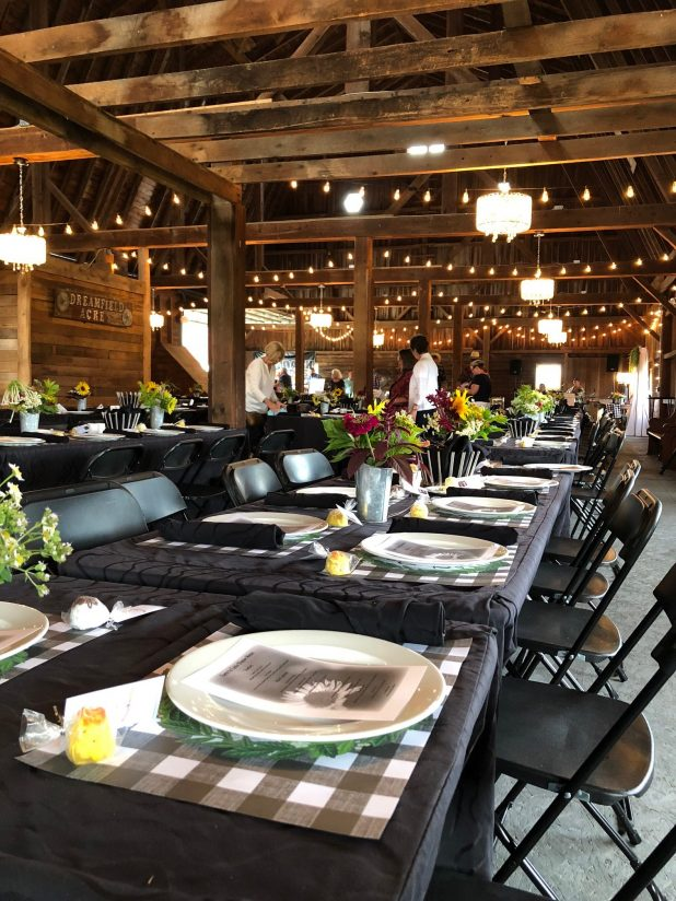 Farm To Table Event, Rustic Decor, Barn Party, Rustic Wedding Decor, Rustic Wedding Event, Sunflowers, Galvanized Buckets, Black and White, Fairy Lights, Barn