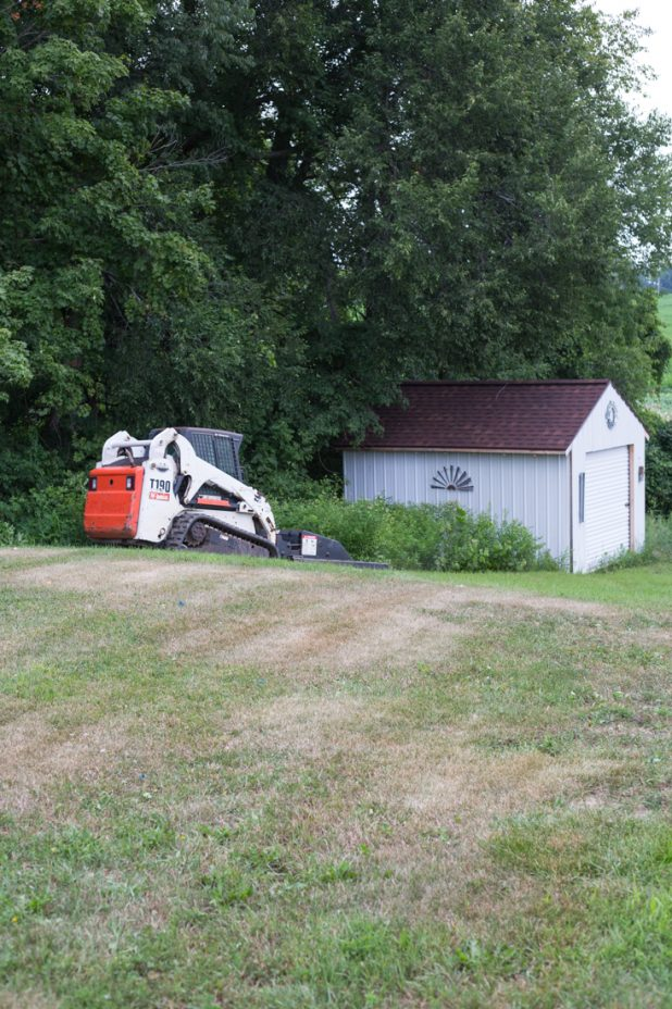 Mowing Down The Weeds Around The Garden Shed