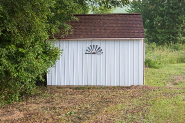 Garden Shed Prepped For Flower Planting And Exterior Decorating