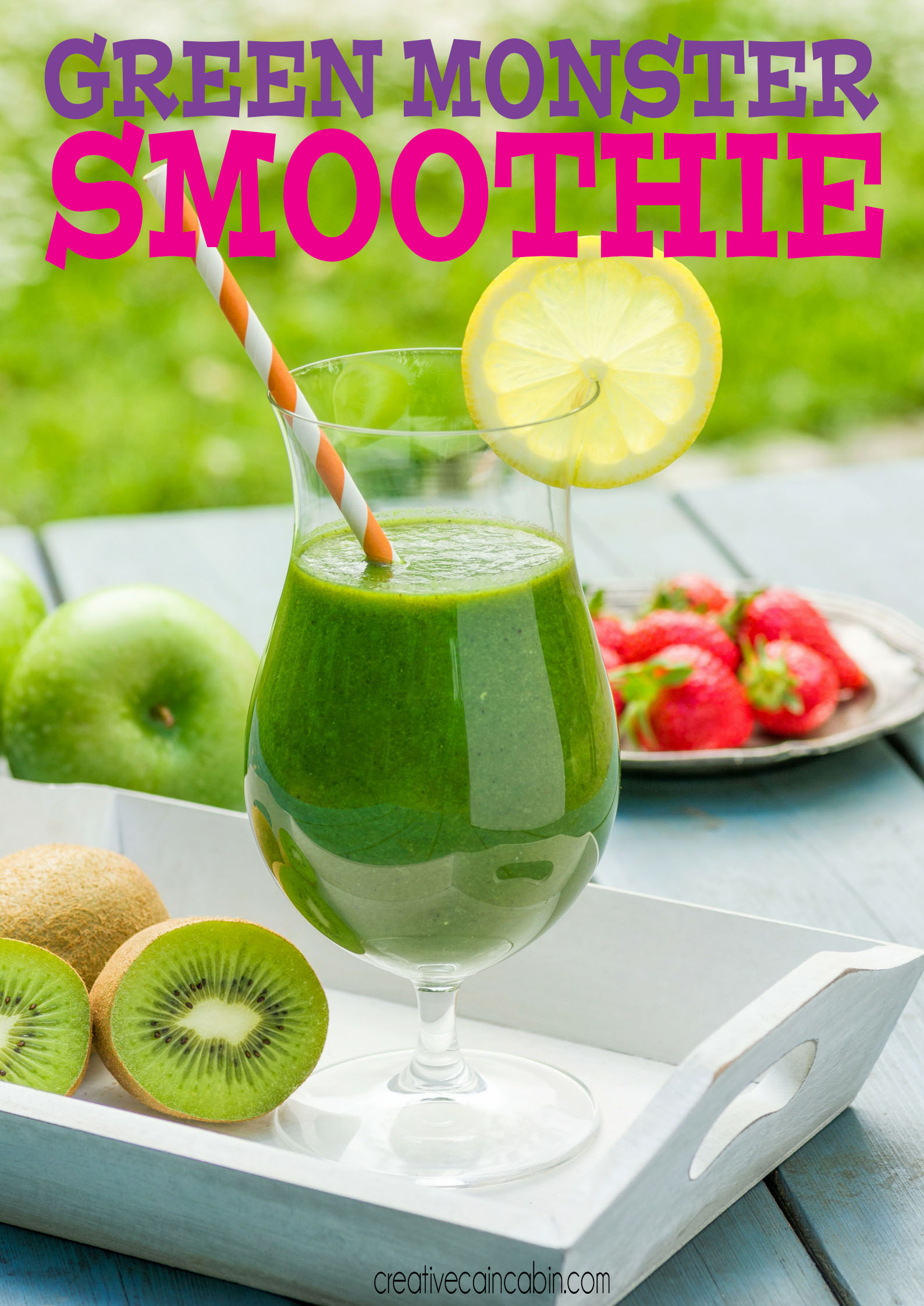 Green Monster Smoothie Recipe, Great For Kids, Easy To Make, Packed Full of Fruit and Veggies For a Simple On The Go Meal