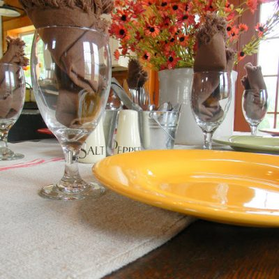 Fall Table with a Grain Sack Runner