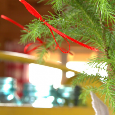Mini Tree Decorated with Ribbon