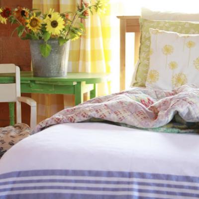 Flannel Hospital Blanket in the Master Bedroom