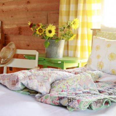 Summer Bedroom in a Log Home