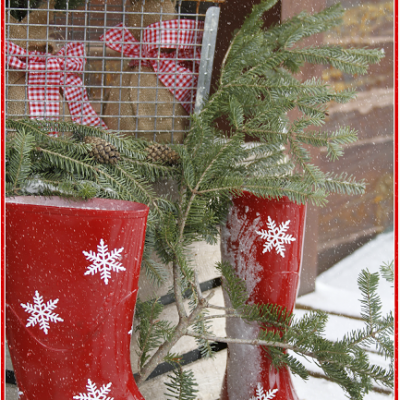 Red Snowflake Boots, Gingham, and Pine