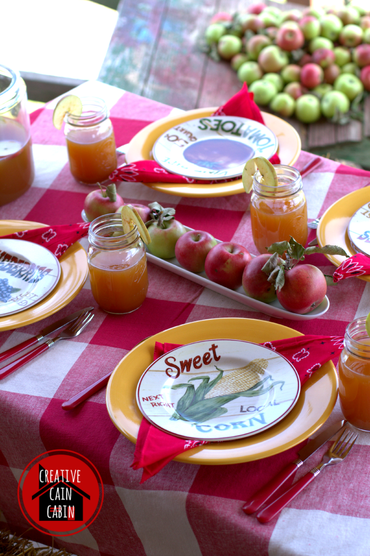 Fall Tablescape with Apples and Buffalo Check Tablecloth