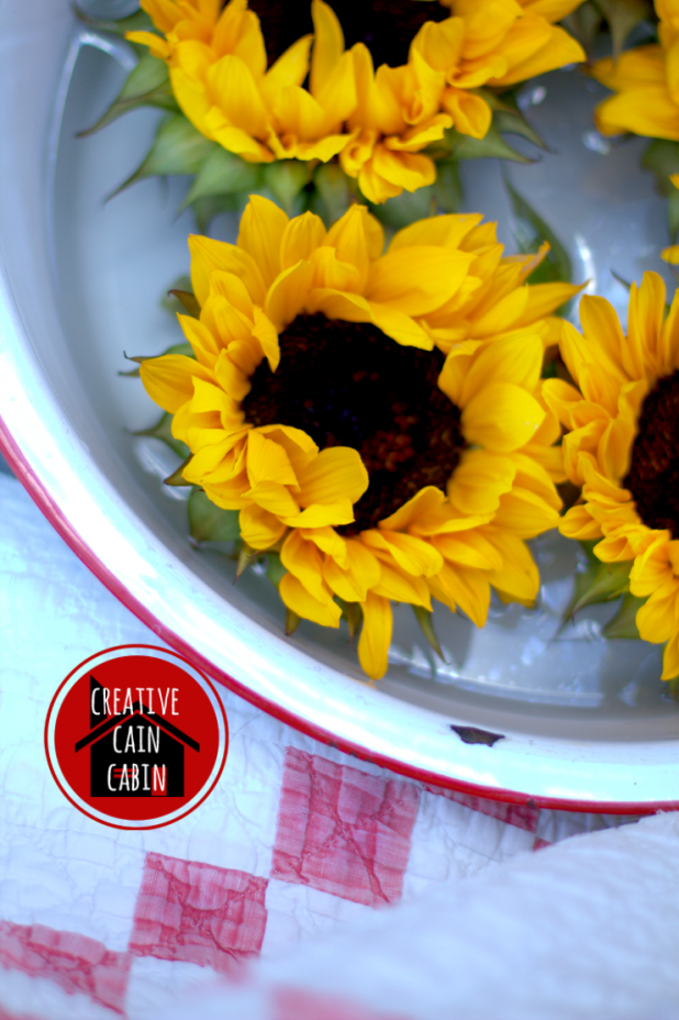 Sunflowers in Enamelware Pan