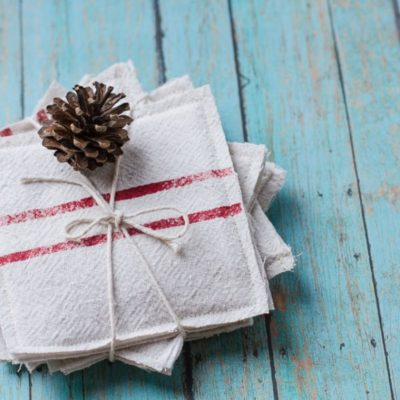 Vintage Grain Sack Coasters from a Drop Cloth