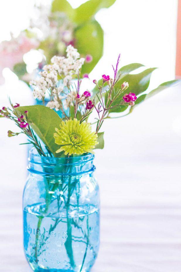 Spring Flowers in Blue Mason Jars