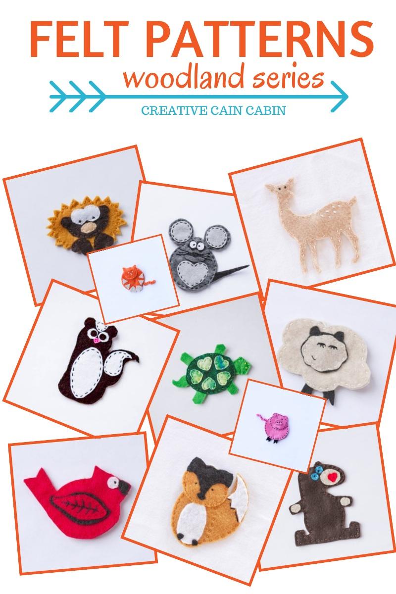 Felt Patterns | Free Download | Woodland Series | twitter.com/CCainCabin | http://www.pinterest.com/dawncain/ | #FeltAnimalPatterns | #CreativeCainCabin