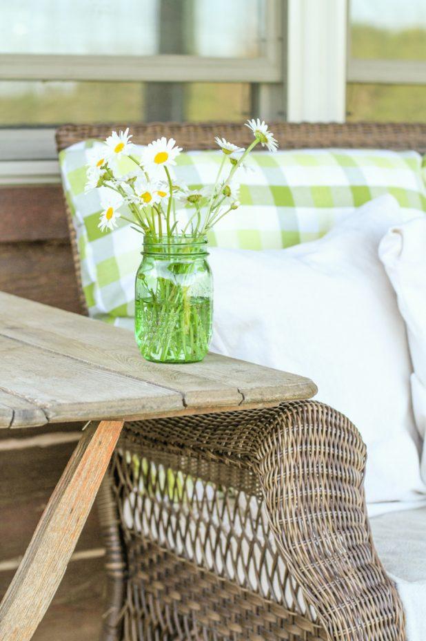 Wild Daisy's   Green Mason Jar   Buffalo Check Fabric  Creative Cain Cabin