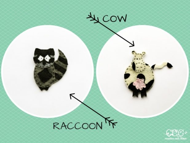 COW & RACCOON Felt Patterns | Creative Cain Cabin