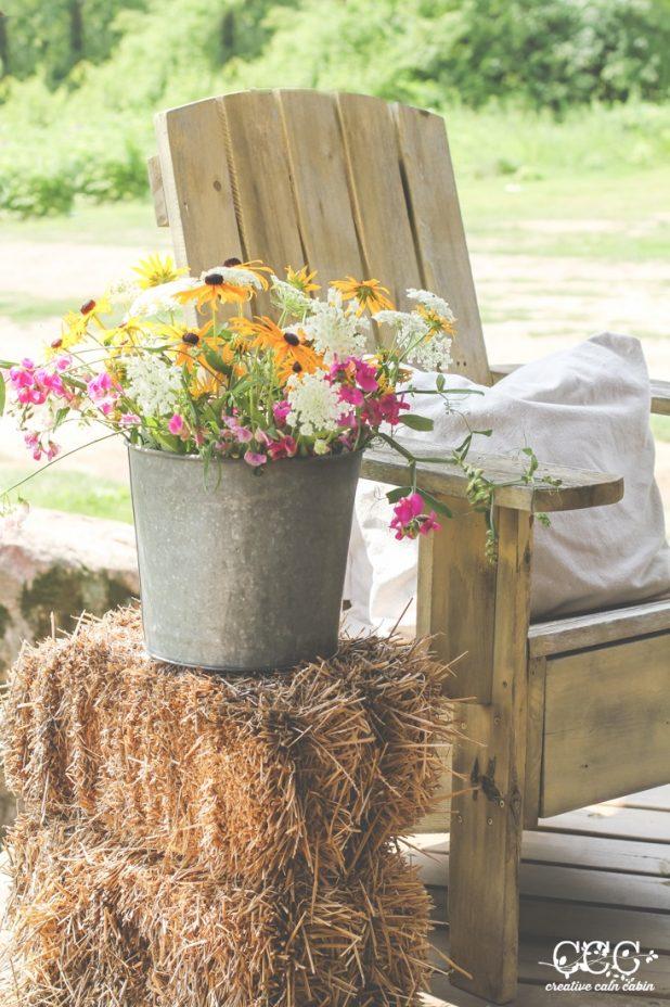 Galvanized Bucket of Flowers   Creative Cain Cabin