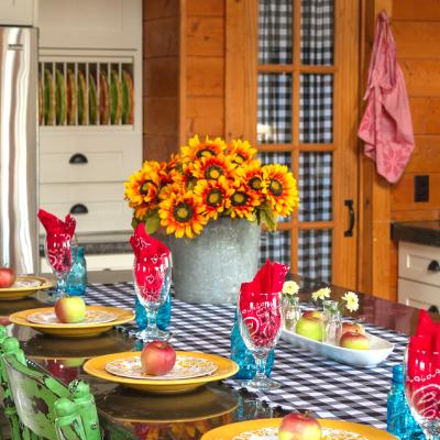 Colorful DIY Log Cabin Kitchen | Creative Cain Cabin