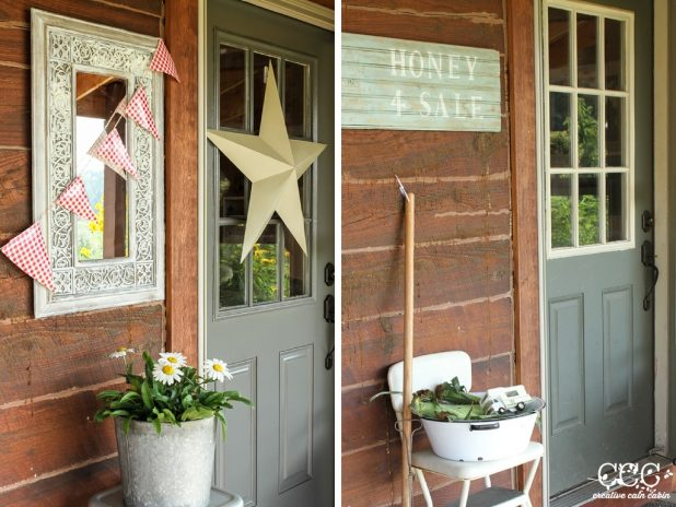 Gray and Green Door   Creative Cain Cabin