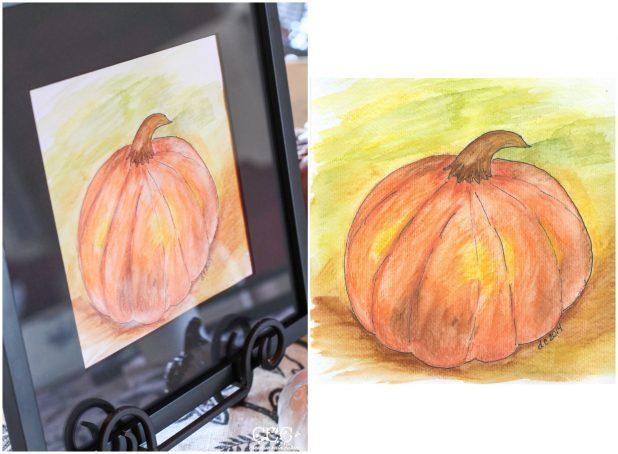 Fall Pumpkin Watercolor Art | Creative Cain Cabin