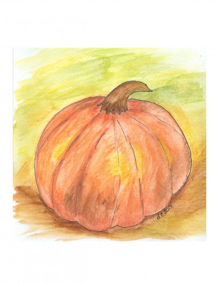 Pumpkin Watercolor Print | Creative Cain Cabin