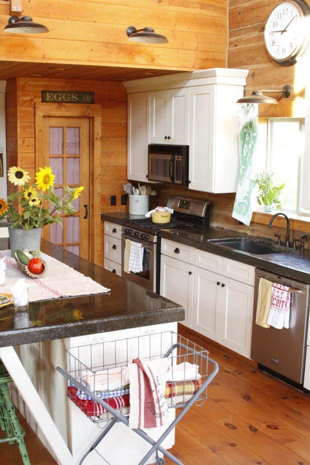 White Kitchen Cupboards in a Log Home | creativecaincabin.com