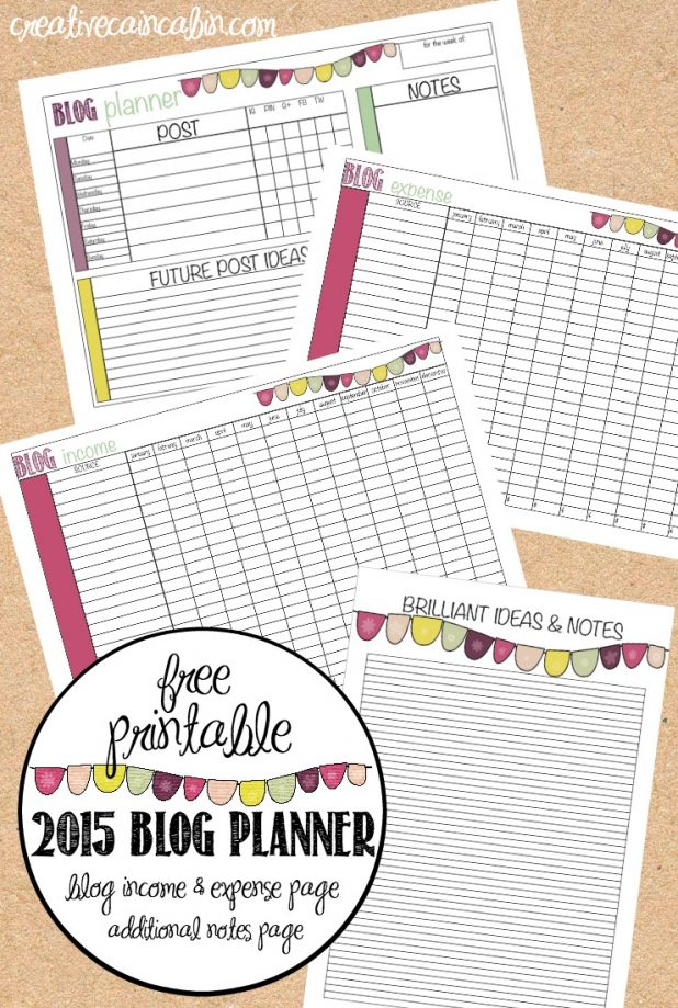2015 Blog Planner |Free Printable | Income and Expense Page for the Year | Additional Notes Page | Weekly Blog Planner | Yearly Calendar | Yearly Daily Planner | creativecaincabin.com