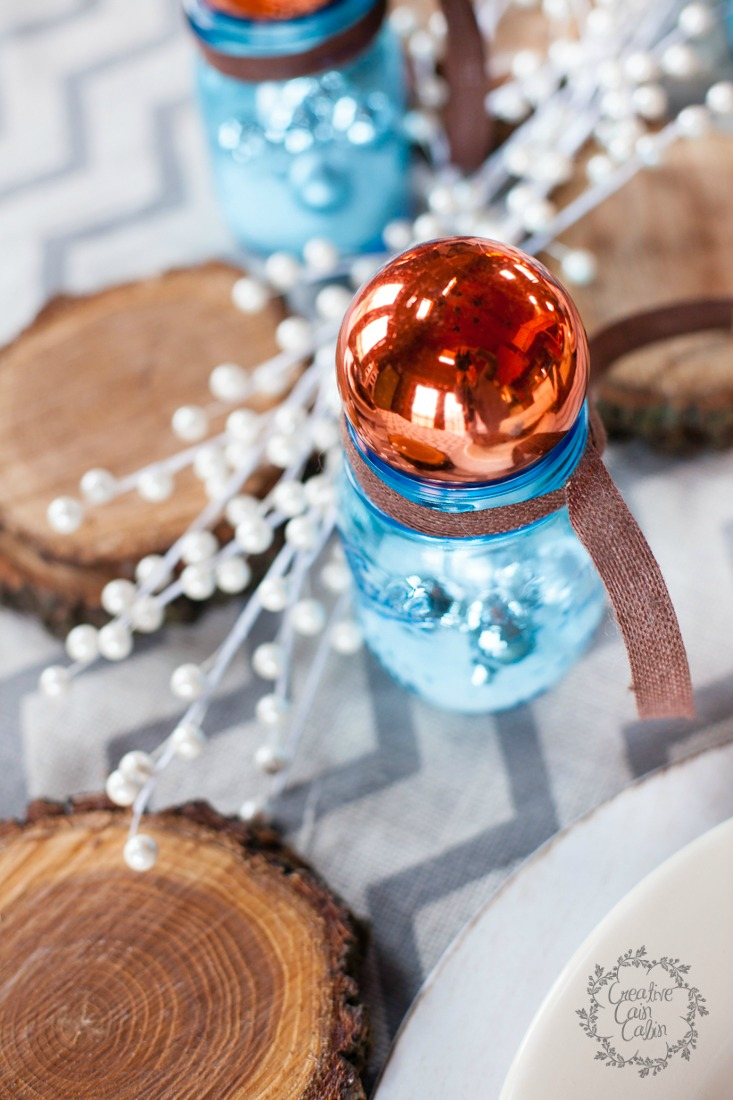 Christmas Table | Blue Mason Jars | Wood | Christmas Ornaments | Burlap Runner | Creativecaincabin.com