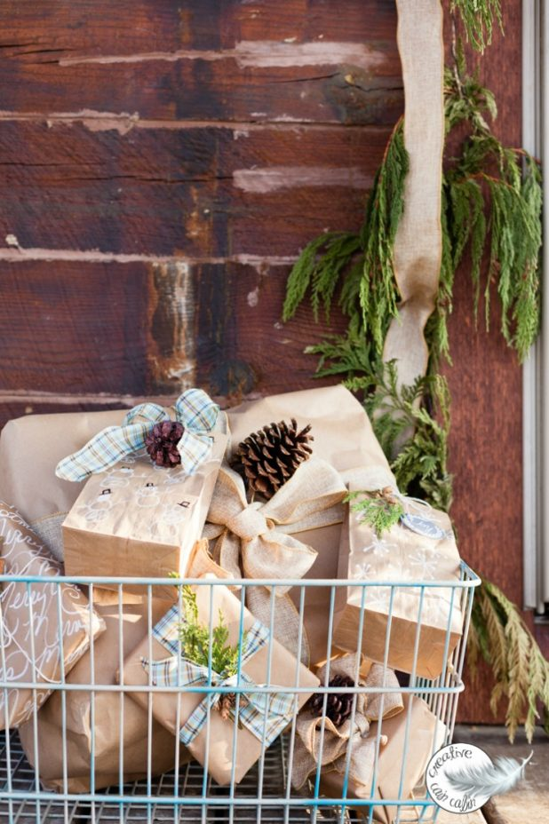 How to Get Several Gift Wrap Looks Using Only Brown Craft Paper and Nature | creativecaincabin.com