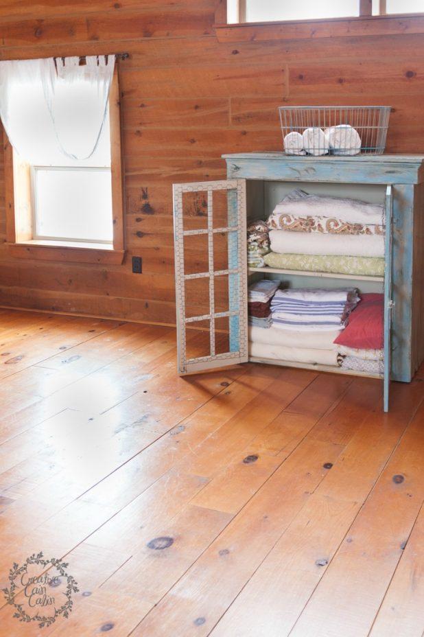 Use and Old Cabinet As A Linen Closet in the Master Bedroom | creativecaincabin.com