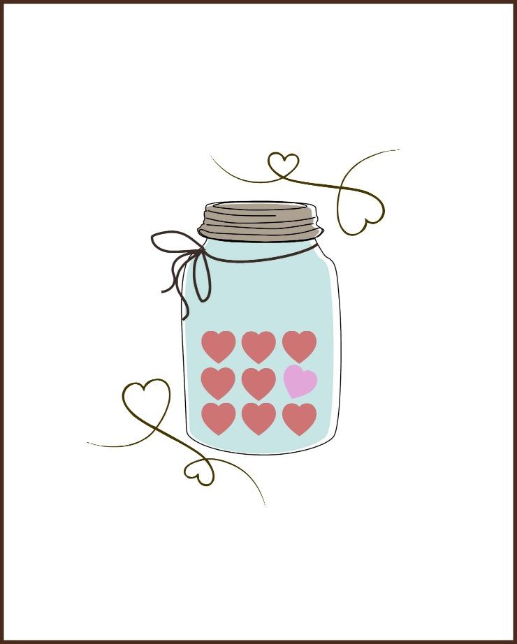Valentine Candy Heart Mason Jar Printable |CreativeCainCabin.com