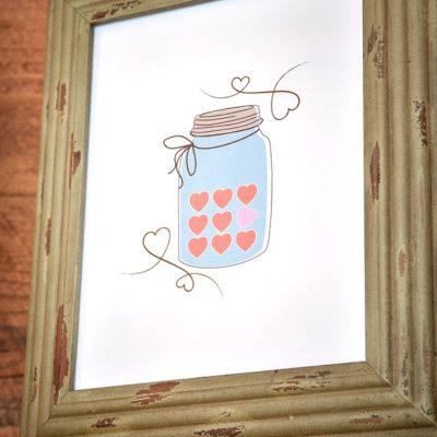Valentine Candy Heart Mason Jar Printable