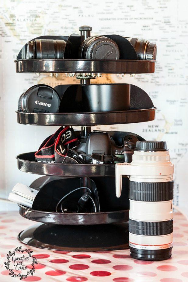Revolving Camera Storage | CreativeCainCabin.com