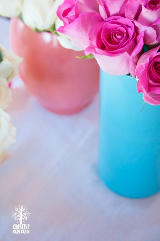 DIY Painted Glass Vases | Use Dollar Store Vases to Get the Look | CreativeCainCabin.com