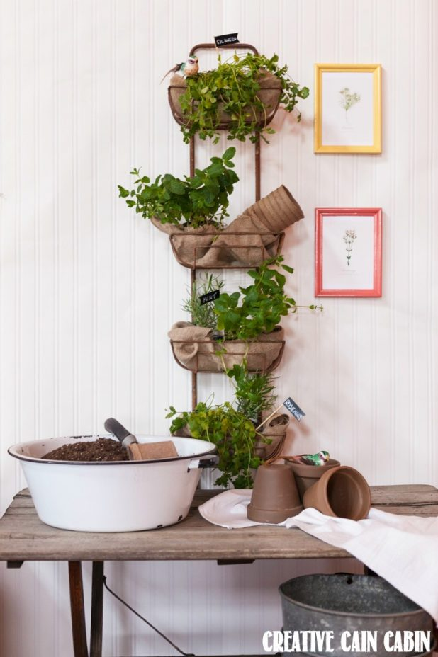 Vertical Herb Garden | Rustic Wall Hanging Basket | Decor Steals | CreativeCainCabin.com