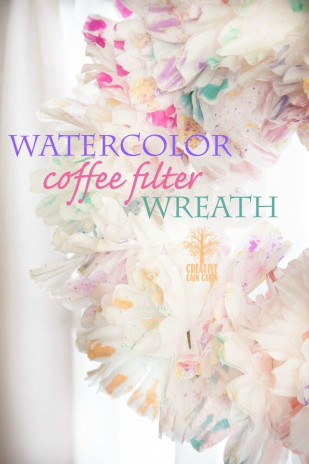 Watercolor Coffee Filter Wreath   Spring Wreath   DIY Wreath   CreativeCainCabin.com