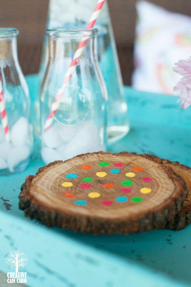 DIY Candy Colored Wooden Coasters | Easy to Do | Bright Colored Polka Dot Wooden Coasters | Acrylic Paint | CreativeCainCabin.com