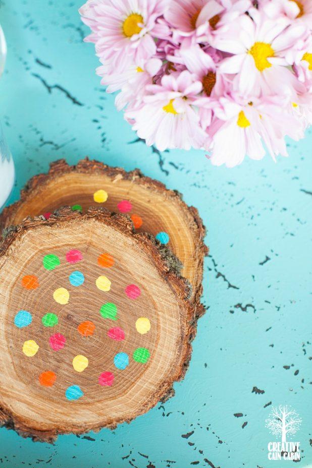 DIY Candy Colored Wooden Coasters   Easy to Do   Bright Colored Polka Dot Wooden Coasters   Acrylic Paint   CreativeCainCabin.com